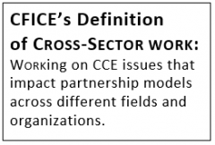"Text box with the following content: ""CFICE's Definition of CROSS-SECTOR WORK: WORKing on CCE issues that impact partnership models across different fields and organizations."""