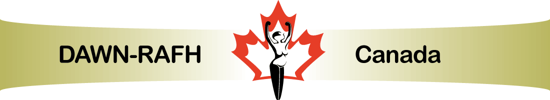 DisAbled Women's Network of Canada logo featuring a female figure with her arms outstretched in triumph over her head, against the backdrop of a red and white maple leaf.