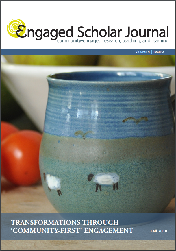 Engaged Scholar Journal CFICE Special Issue Cover photo featuring a mug painted with sheep.