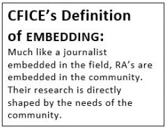 "Text box with the following content: ""CFICE's Definition of EMBEDDING: Much like a journalist embedded in the field, RA's are embedded in the community. Their research is directly shaped by the needs of the community."""