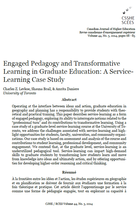"First page of the journal article ""Engaged Pedagogy and Transformative Learning in Graduate Education: A Service-Learning Case Study"""