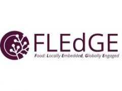 FLEdGE project logo depicting trees growing in a mauve circle.