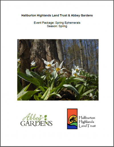Title page of a report on identifying different spring flowers in Haliburton.