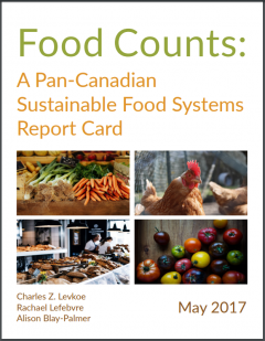 "Title page of food sustainability report titled ""Food Counts: A Pan-Canadian Sustainable Food Systems Report Card""."