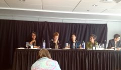 panelists sitting at a table, from left to right: Kamari Clarke, Holly Johnson, Cherry Smiley, Lucie Lamarche, and Debra J. Liebowtz