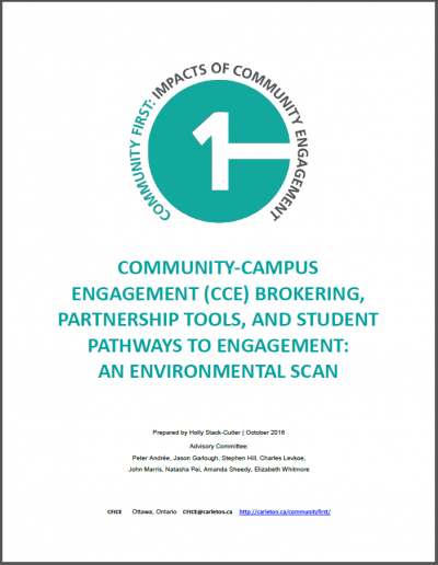 Title page of the report titled: Community-Campus Engagement Brokering, Partnership Tools, and Student Pathways to Engagement: An Environment Scan.