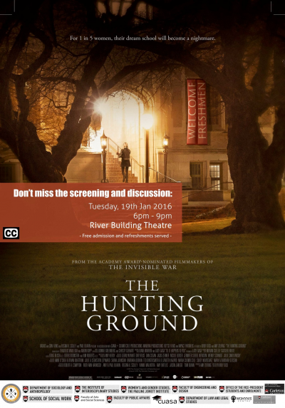 """Poster advertising the documentary """"The Hunting Ground"""" depicting a young woman walking into a university campus building."""