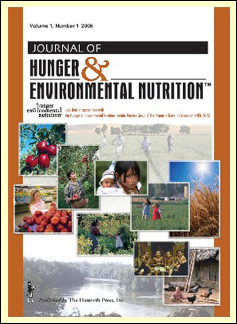 Title page of the Journal of Hunger and Nutrition showing multiple images of food, food harvesting, and grocery shopping.