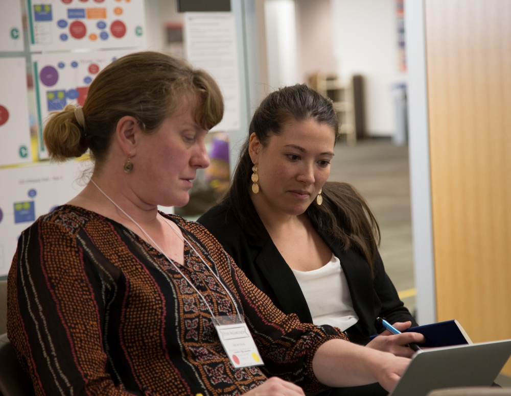 Patricia Ballamingie, past CFICE Co-lead, points to something on a computer screen as Natasha Pei, past CFICE co-lead, looks down at the screen.