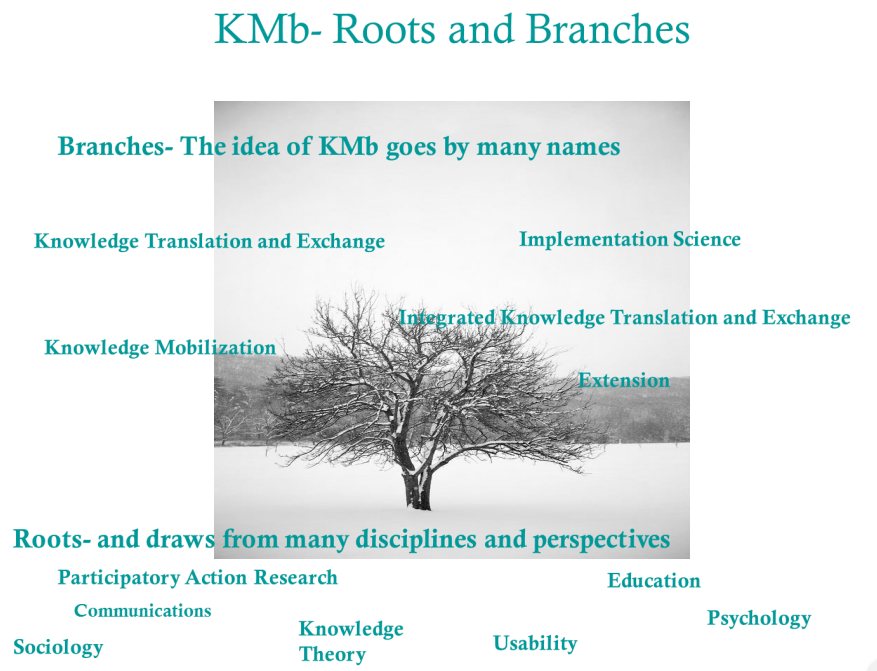 An image of a winter tree in the background and many different names and descriptions of Knowledge Mobilization in the foreground.