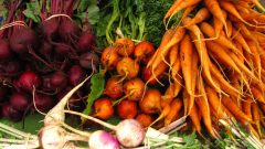 Beets, carrots, and turnips from LazyB farms spread out on a table.