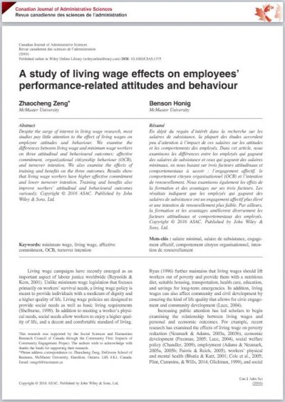 Title page of a journal article on employees' attitudes towards living wages.
