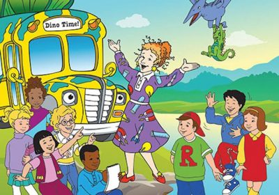 Image of Ms. Frizzle from the kid's show, The Magic School Bus, welcomes her students to board the magic school bus.
