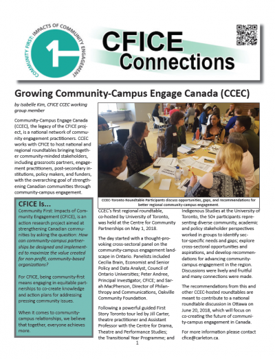 First page of the CFICE Connections May 2018 Newsletter featuring a detailed article on progress for Community-Campus Engage Canada.