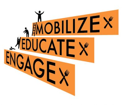 """Meal Exchange's model of operation: Stair steps reading """"engage, educate, mobilize""""."""