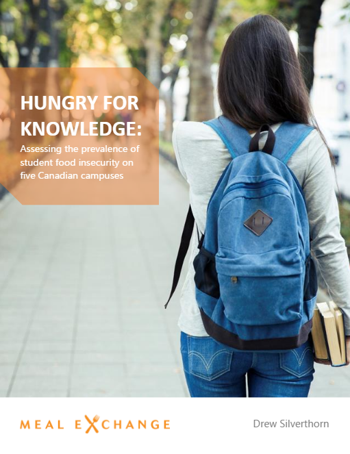 """Cover page of Meal Exchange's """"Hungry for Knowledge"""" report featuring a female student walking away from the camera wearing a blue backpack and carrying books."""