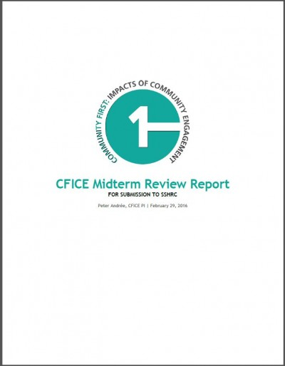 Cover page of the CFICE Midterm Review Report for SSHRC depicting the CFICE logo and title.