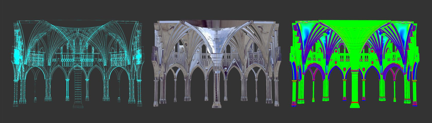 Three-D renderings of archways at Canada's Parliament Buildings.