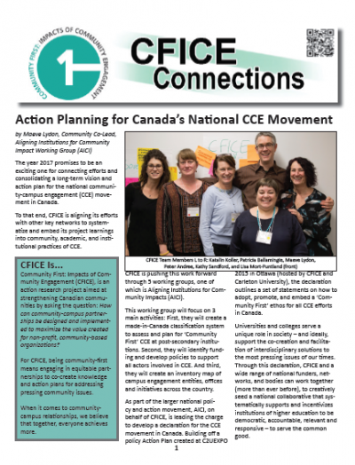 Image of the front cover of the CFICE Connections paper newsletter.