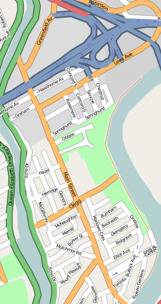 A map of Old Ottawa East.