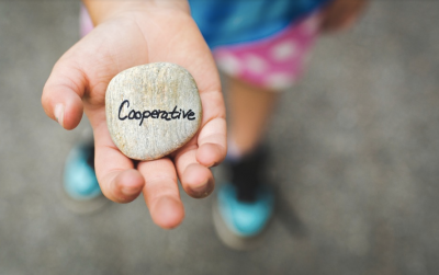 "A child's hand holding a rock that reads ""cooperative""."