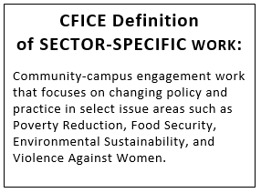 CFICE Definition of SECTOR-SPECIFIC WORK:  Community-campus engagement work that focuses on changing policy and practice in select issue areas such as Poverty Reduction, Food Security, Environmental Sustainability, and Violence Against Women.