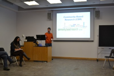 John Marris, CES (Ptb/Hbtn) Community Co-lead, presents at the Trent University MASS program Colloquium (January 2016).