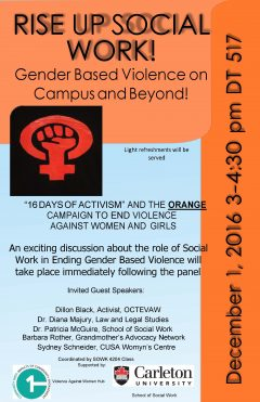 A poster advertising the VAW hub's event on Dec. 1.