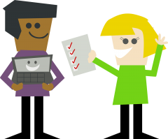A cartoon man holding a laptop smiling at a cartoon woman holding a completed checklist.