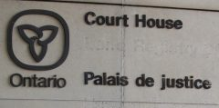 Canadian Press photo of the Ontario Court House sign.