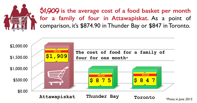 Paying for Nutrition report infographic depicting that a family of 4 in the north pays $1,909 for groceries in comparison with $847 a similar family in Toronto.