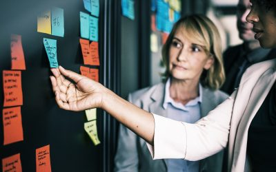 Two women rearrange sticky notes on the project management timeline.