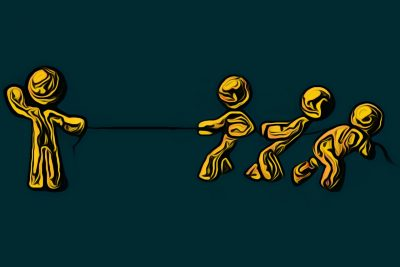 A tug-of-war game between one strong yellow stick figure and three weaker stick figures.