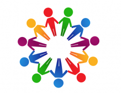 Cartoon people of various colours hold hands in a circle.