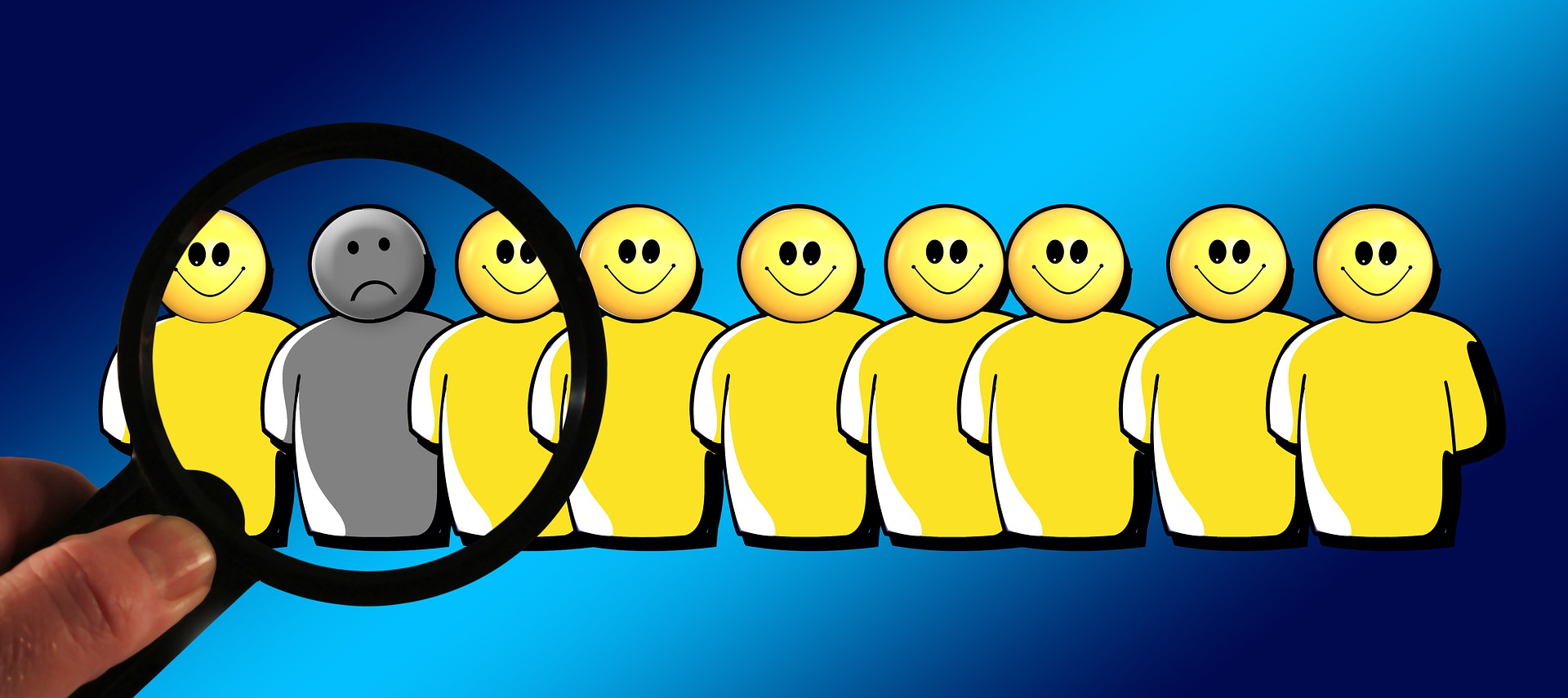 A row of smiling figures being examined under a magnifying glass that reveals one frowning figure amid the bunch.
