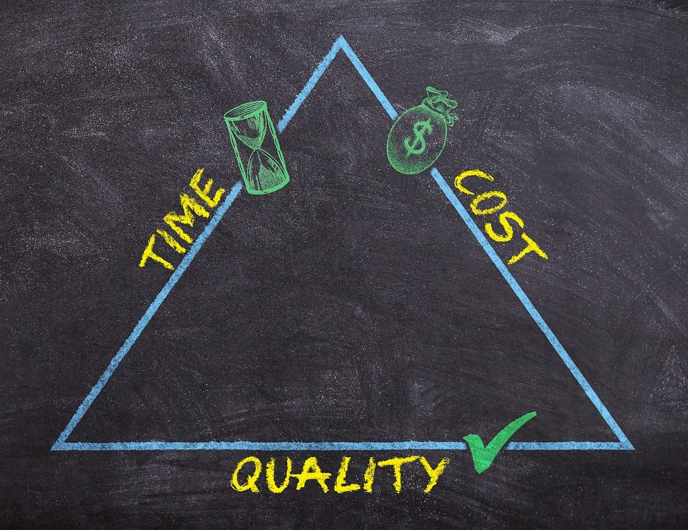 A picture of the Time, Cost, Quality triangle drawn on a chalk board.