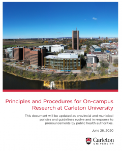 Cover of the Principles and Procedures for On-Campus Research at Carleton University report June 26 2020