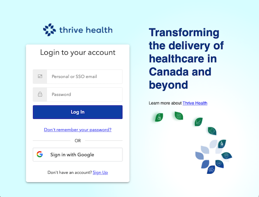 Screenshot image of the Thrive Health log in page.