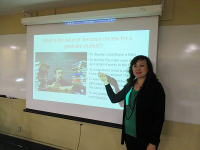 Dr. Kuzhabekova discusses literature reviews.