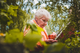 Senior woman in forest setting