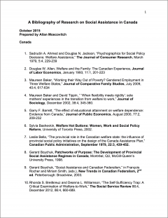 First page of social assistance bibliography