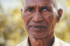 Close-up of senior Indian man's face