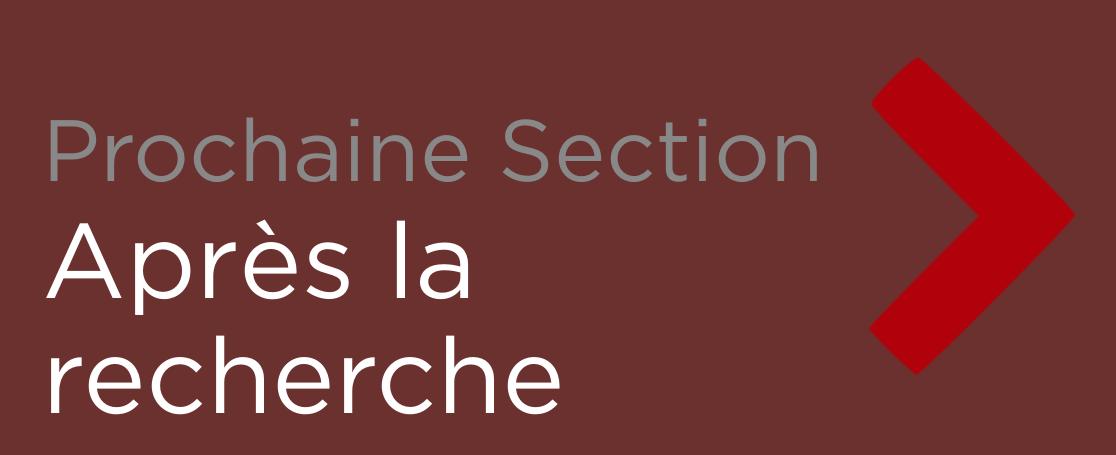 """Button - """"Prochaine Section: Apres la recherche"""""""