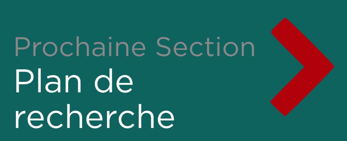 """Button - """"Prochaine Section: Plan de Recherche"""""""