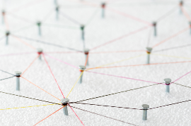 Idea map made with string and pins