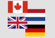flags of Canada, Netherlands, United Kingdom, Germany
