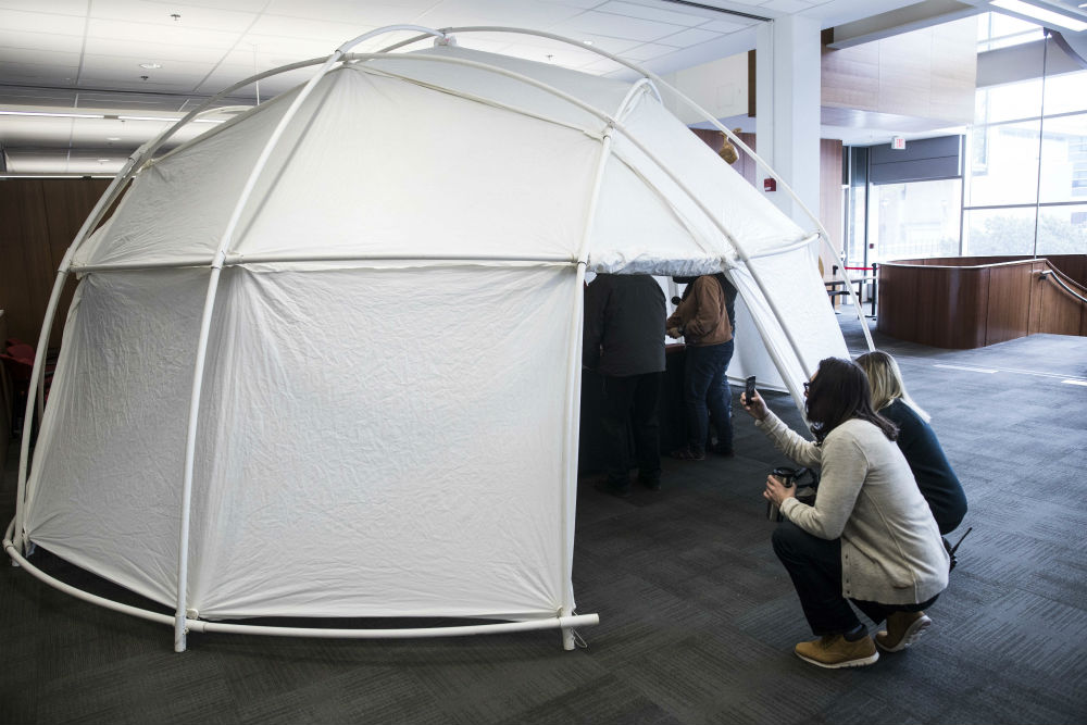 A look at the geodesic dome that housed Jesse Stewart's performance