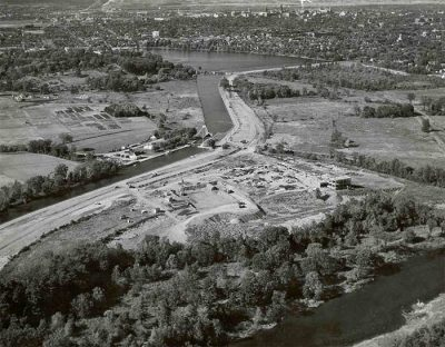 Aerial view of Carleton University, c. 1957. Library Special Collections fonds.
