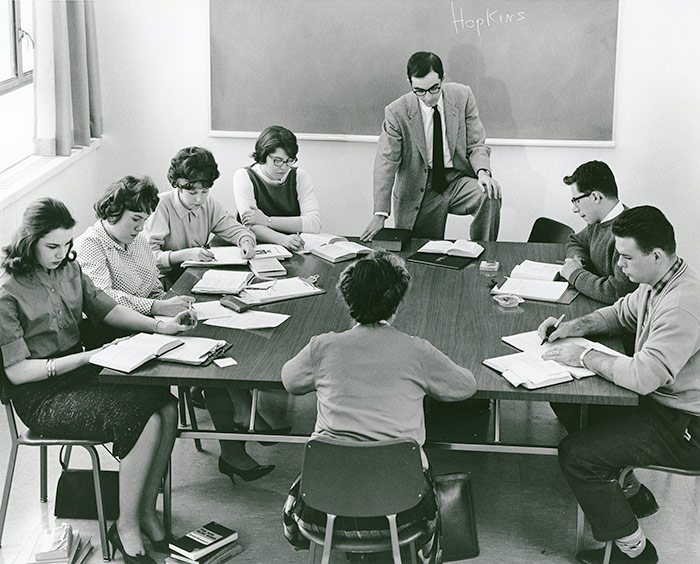 Professor B. Jones discusses 20th century poetry with his class, c. 1958.