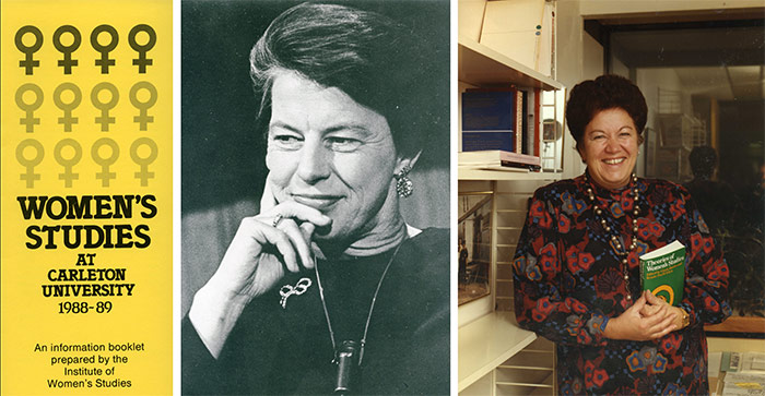 Left: Women's Studies pamphlet, 1988-89. Department of University Communications fonds. | Middle: Former chancellor and professor Pauline Jewett, 1974. Library Special Collections fonds. | Right: Joint Chair of Women's Studies at Carleton University and the University of Ottawa, Monique Begin, 1987. Development and Alumni Services fonds.